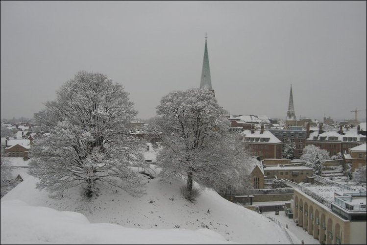 Oxford Castle in snow