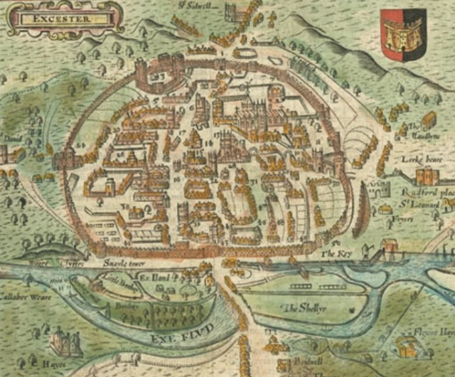 Exeter Castle from John Speed map